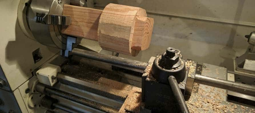 wood on a metal lathe