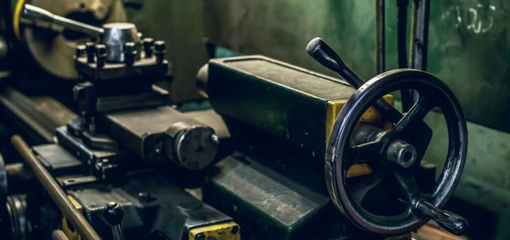 A metal lathe in a workshop