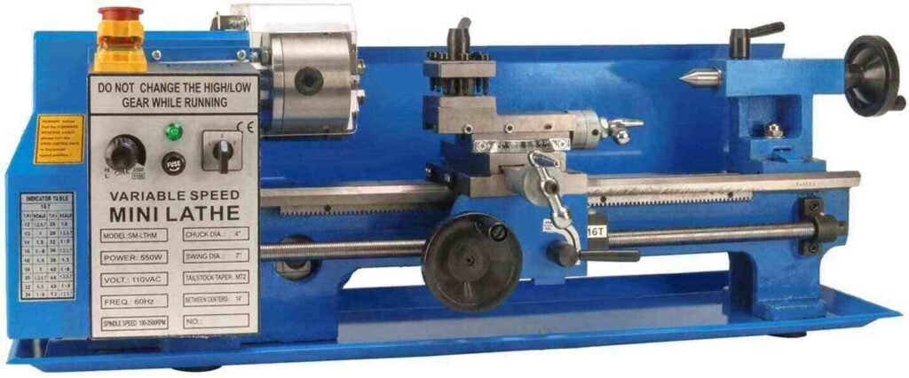 """""""Blue colored Erie Tools 7 x 14 mini metal milling lathe in a white background"""""""