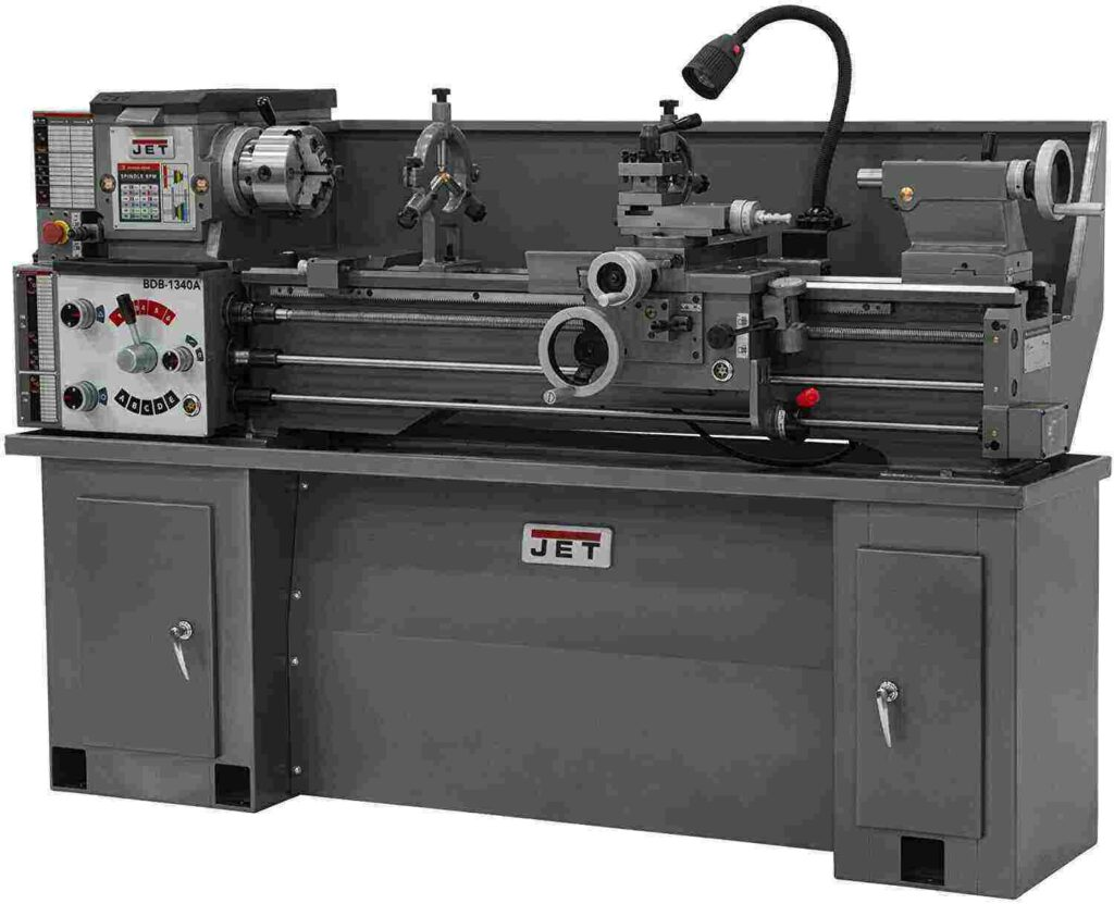 """""""Full black colored Jet- 321360A BDB 1340A metal lathe in a white background"""""""