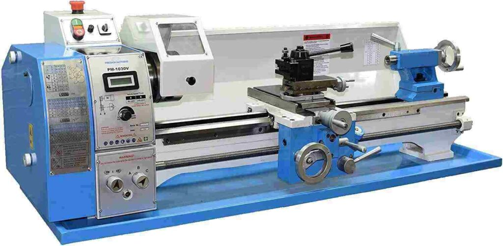 """""""Blue and white colored PM 1030V Precision Matthews 10x30 Metal lathe in a white background"""""""