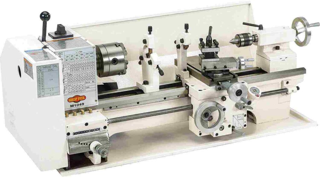 """""""Mat white colored silver body of Shop Fox M1049 metal lathe in a white background"""""""