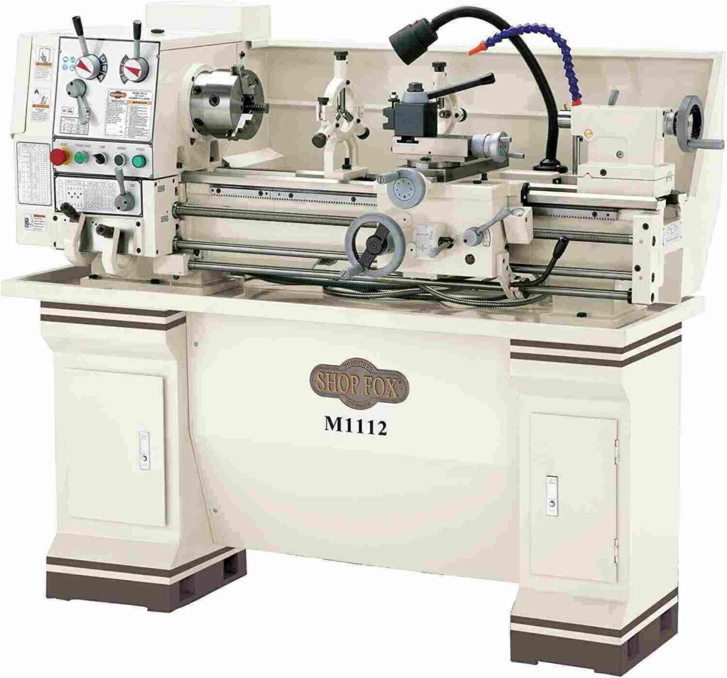 """""""Full white colored Shop-Fox-M1112-metal-lathe in a white background"""""""