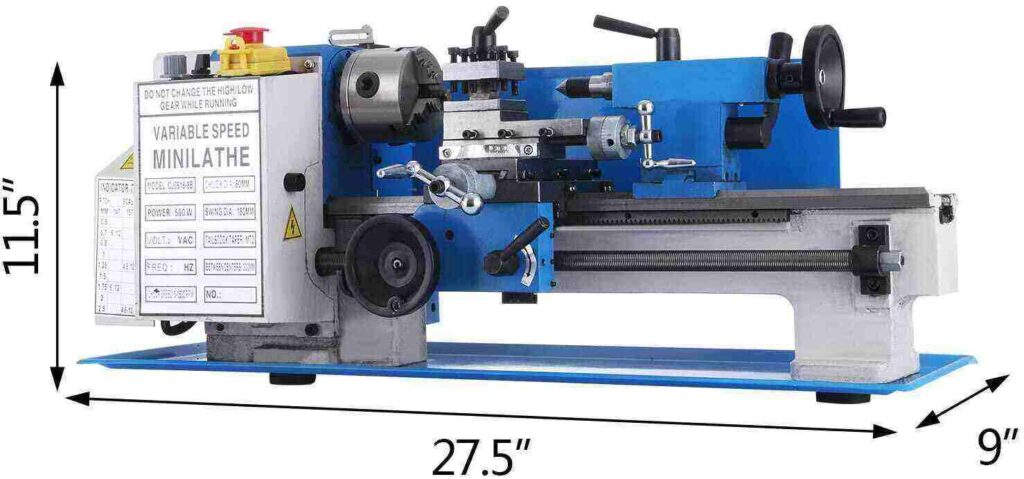 """""""Blue and White colored BestEquip 7 x 4 lathe with size detail in a white background"""""""
