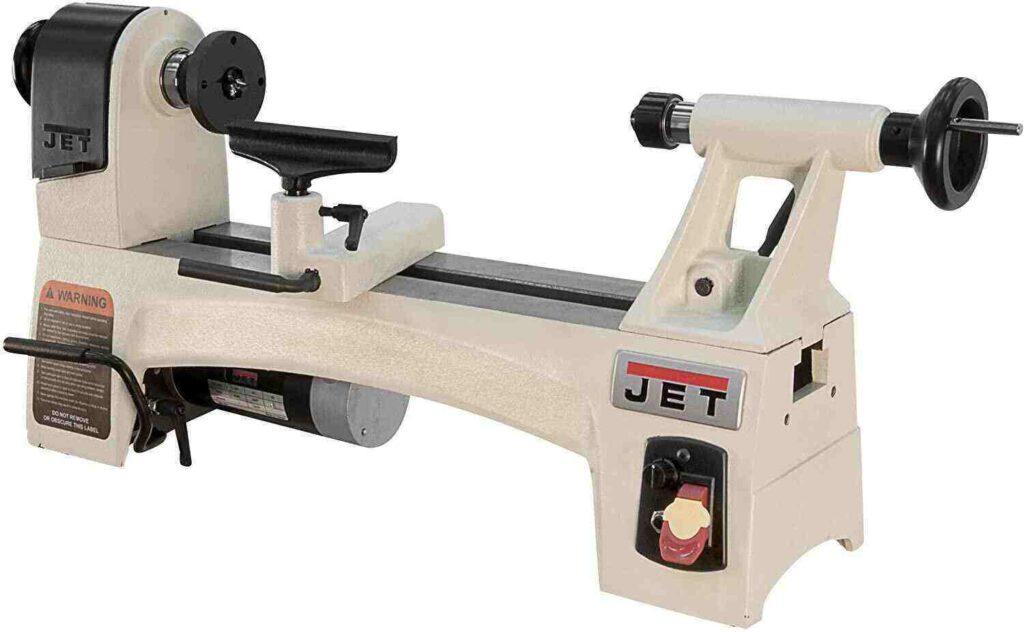 """Mat white colored jet jwl 1015vs mini wood lathe in a white background"""
