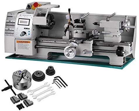 """""""A silver and green color bed BestEquip 8x16 inches Lathe with it's accessories in a white background"""""""