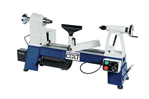 """""""white and blue colored Colt-SML-350 wood lathe in a white background"""""""