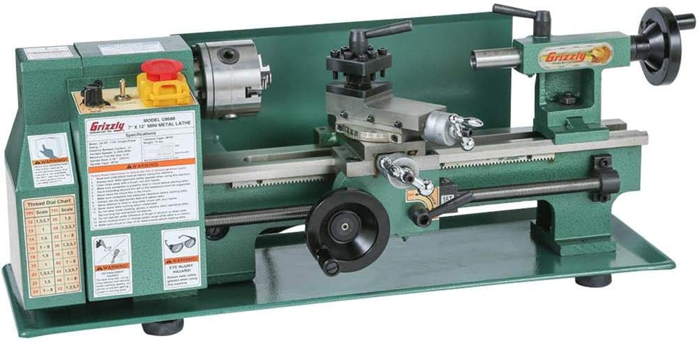 """""""Olive green colored Grizzly G8688 Mini Lathe in a white background"""""""