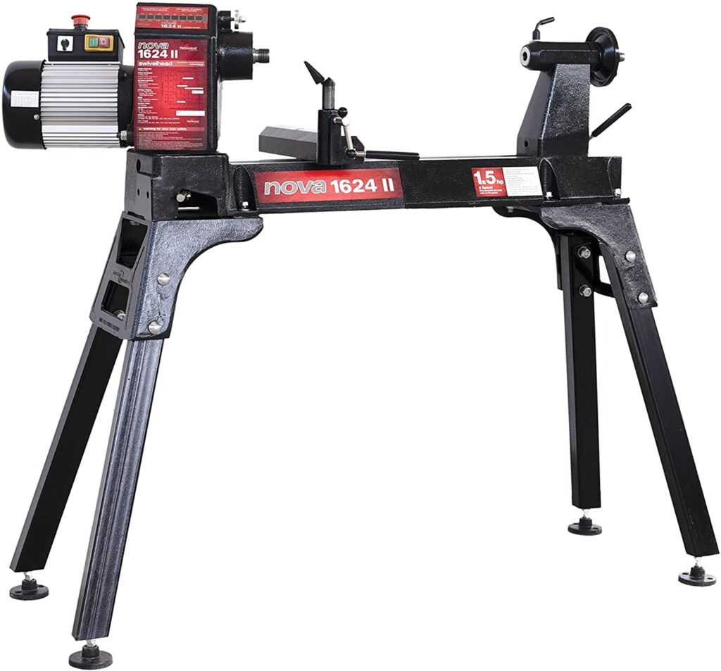 """""""Full black with little red colored lathe Nova-1624-II-8-speed-wood-lathe in a white background"""""""