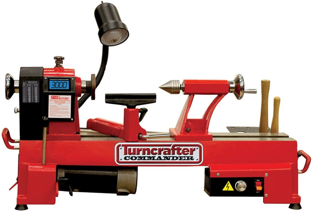"""""""Full red colored PSI-Turncrafter-1018 mini wood lathe in a white background"""""""
