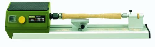 """ Light Green colored Proxxon-37020-DB-250-micro-wood-lathe in a white background"""