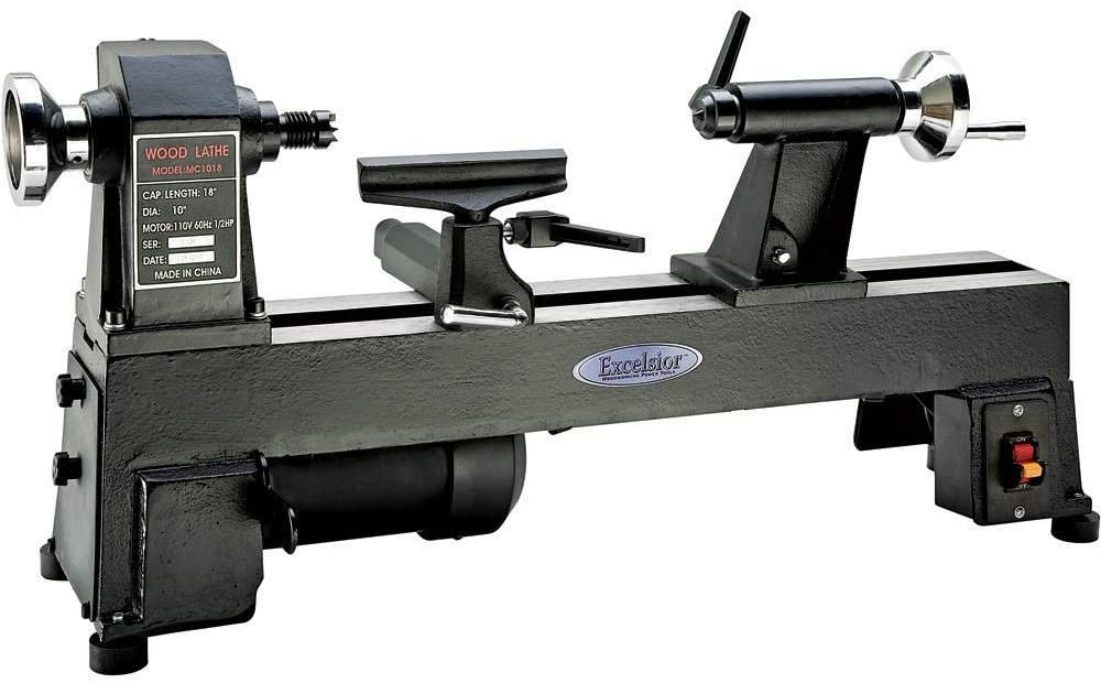 """""""Full black colored Excelsior Mini Wood Lathe by Rockler brand in a white background"""""""