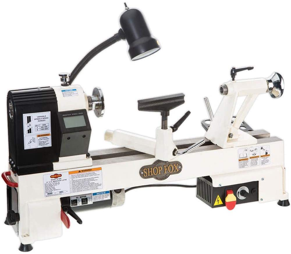 """""""White colored midi lathe shop fox w1836 with a attached led light in a white background"""""""