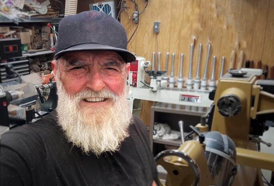 """""""lathematters author mr Charles Wilson taking a selfie inside his workshop"""""""